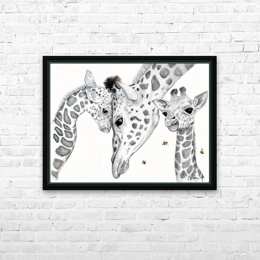 Giraffe Family  HD Sublimation Metal print with Decorating Float Frame (BOX)
