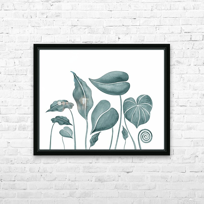 Tropical Leaves Teal Gray Botanical Foliage Watercolor  HD Sublimation Metal print with Decorating Float Frame (BOX)