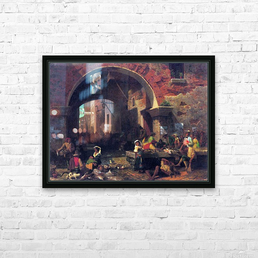 The Arc of Octavius, Roman Fish market by Bierstadt HD Sublimation Metal print with Decorating Float Frame (BOX)