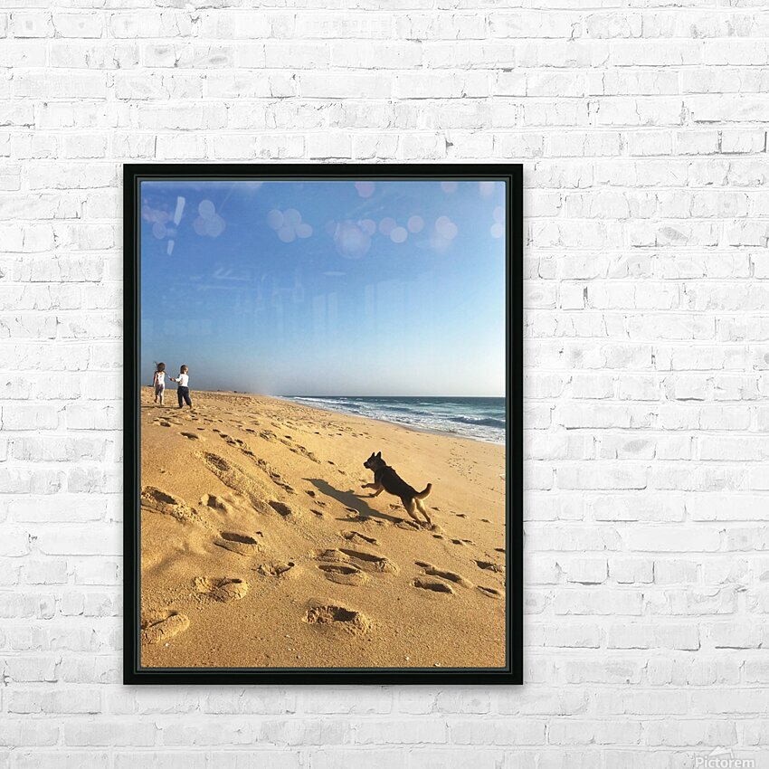 Dog and kids on the beach in Portugal HD Sublimation Metal print with Decorating Float Frame (BOX)