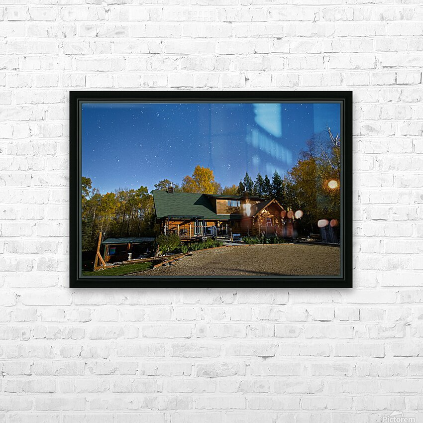 Nightscape Over Log Cabin HD Sublimation Metal print with Decorating Float Frame (BOX)