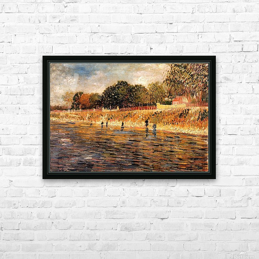 The Banks of the Seine by Van Gogh HD Sublimation Metal print with Decorating Float Frame (BOX)