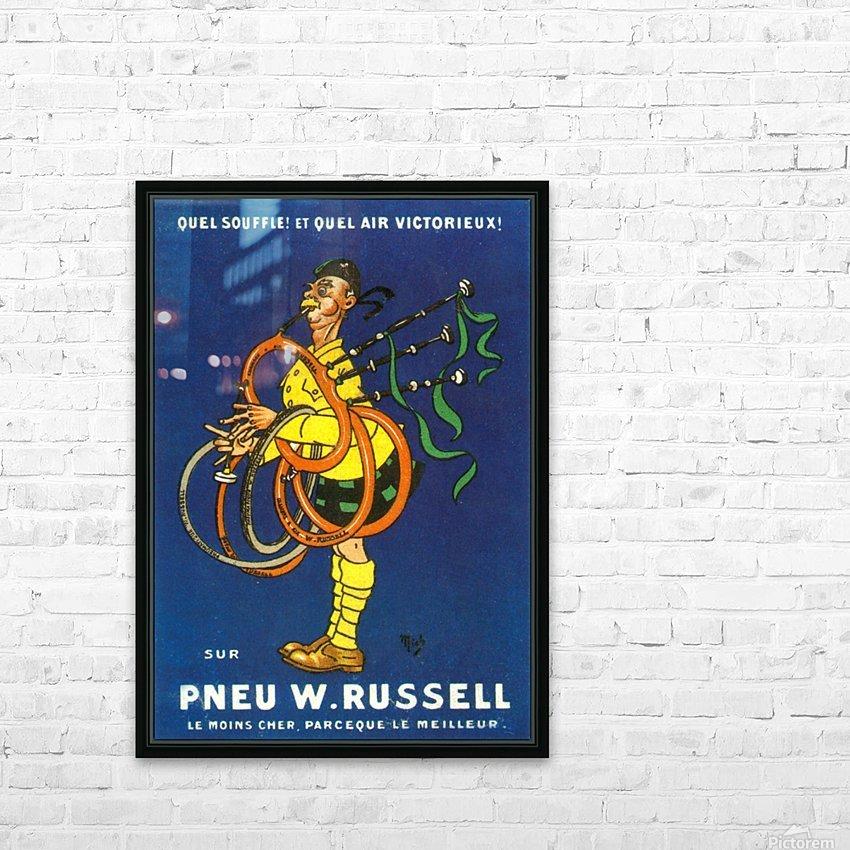 Pneu W.Russell HD sublimation métal imprimé avec décoration flotteur cadre (boîte)