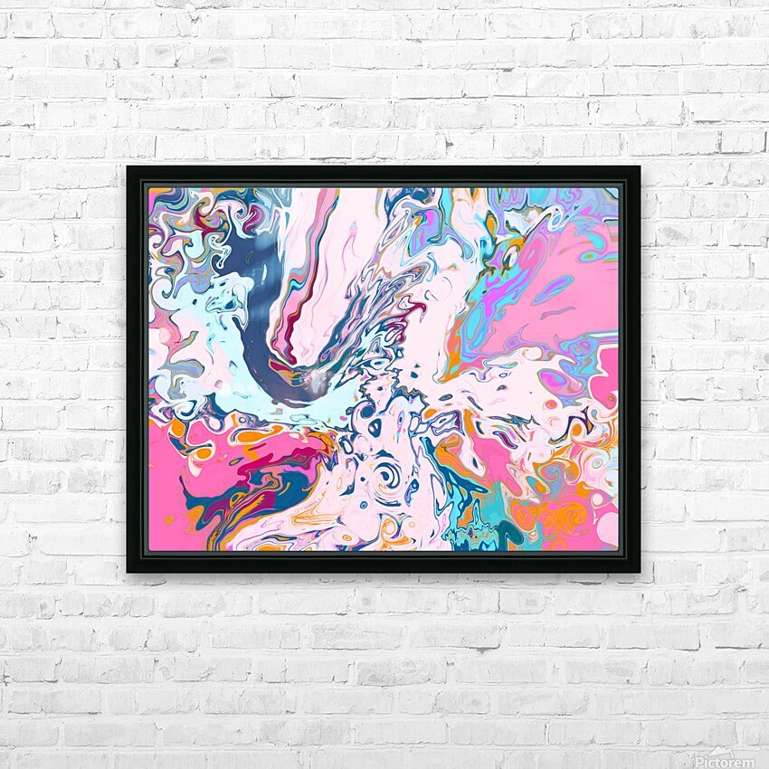 Baby Blue and Pink Paint Pour HD Sublimation Metal print with Decorating Float Frame (BOX)