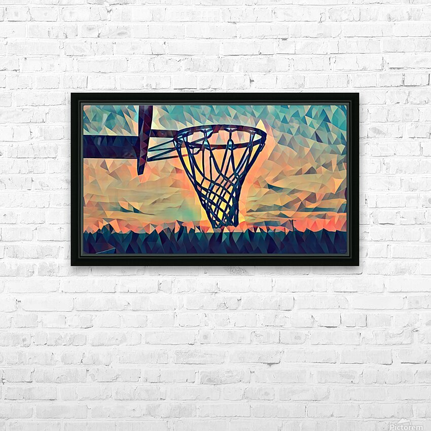basketball hoop sunset HD Sublimation Metal print with Decorating Float Frame (BOX)