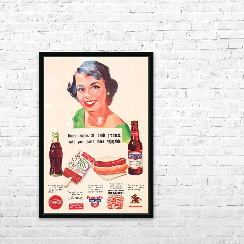 Vintage St. Louis Sportsman Park Concessions Ad HD Sublimation Metal print with Decorating Float Frame (BOX)
