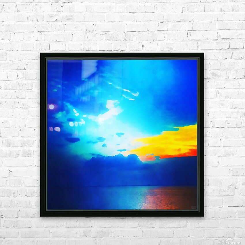 blue yellow magic HD Sublimation Metal print with Decorating Float Frame (BOX)