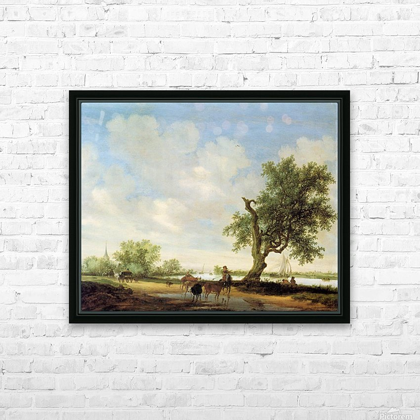 River Landscape with figures HD Sublimation Metal print with Decorating Float Frame (BOX)