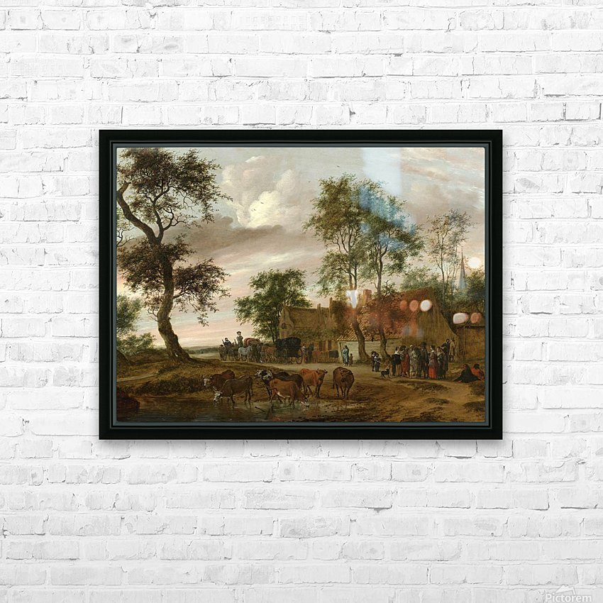 A village landscape with carriages outside an inn HD Sublimation Metal print with Decorating Float Frame (BOX)