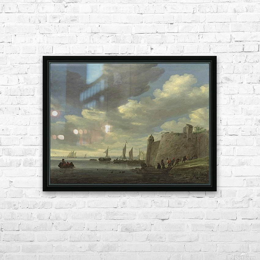 A river estuary with figures pulling in their nets by a fort HD Sublimation Metal print with Decorating Float Frame (BOX)
