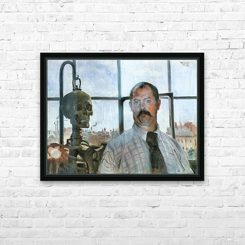 Self Portrait with Skeleton by Lovis Corinth HD Sublimation Metal print with Decorating Float Frame (BOX)