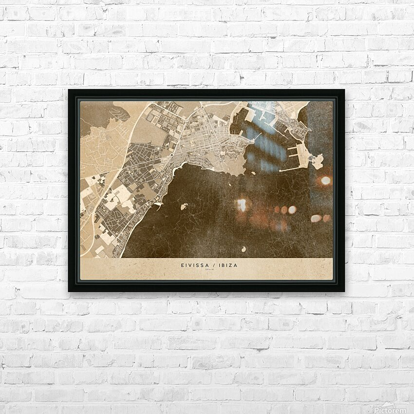 Sepia vintage map of Ibiza Spain HD Sublimation Metal print with Decorating Float Frame (BOX)