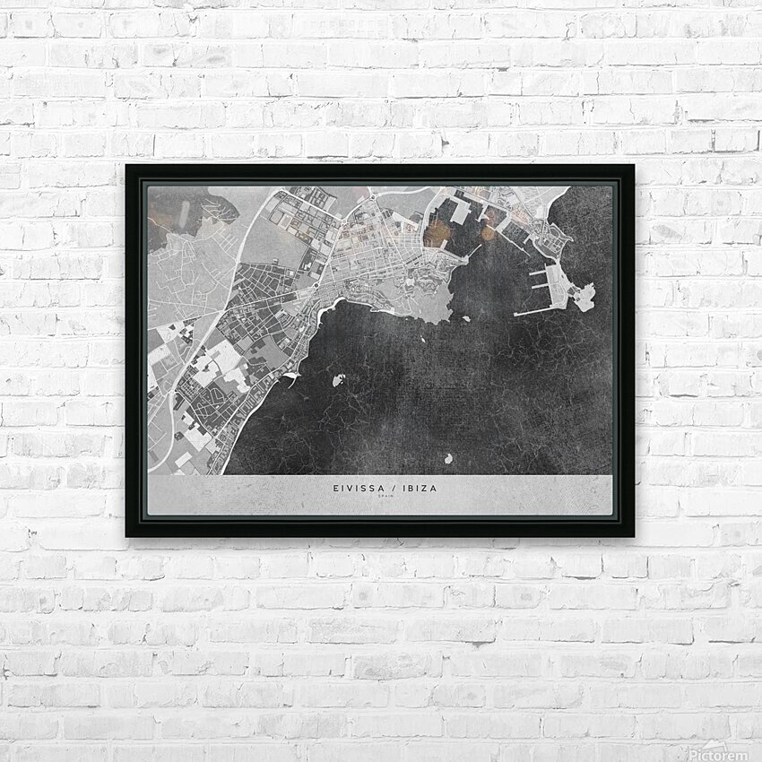 Gray vintage map of Ibiza Spain HD Sublimation Metal print with Decorating Float Frame (BOX)