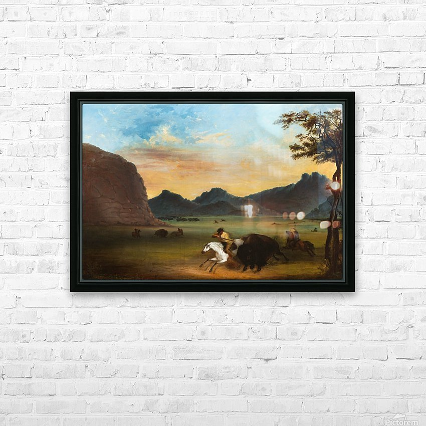 Buffalo Hunt HD Sublimation Metal print with Decorating Float Frame (BOX)