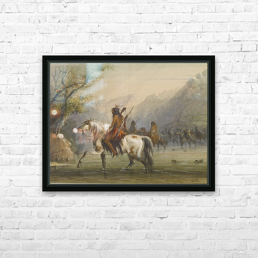 Shoshone Indians - Fording a River HD Sublimation Metal print with Decorating Float Frame (BOX)