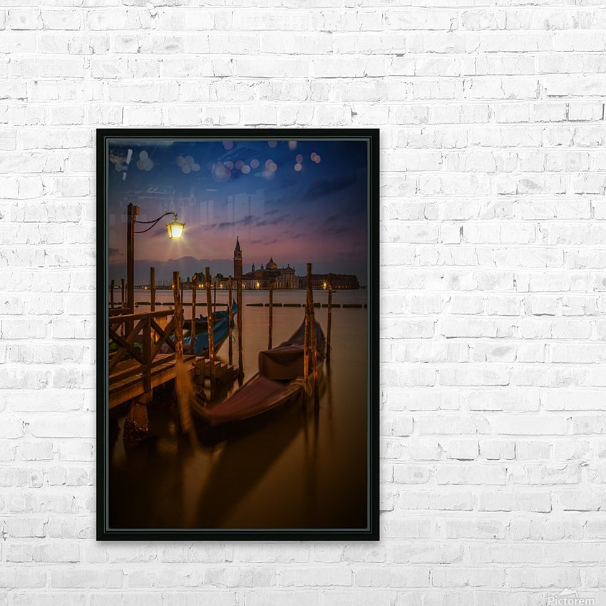 VENICE Gondolas during Blue Hour HD Sublimation Metal print with Decorating Float Frame (BOX)