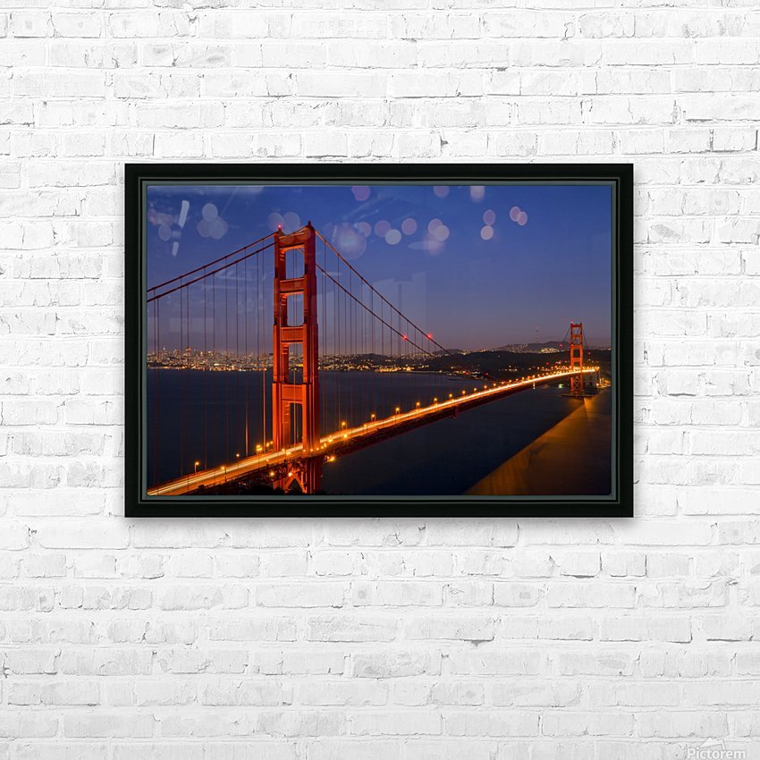 Golden Gate Bridge at Night HD Sublimation Metal print with Decorating Float Frame (BOX)