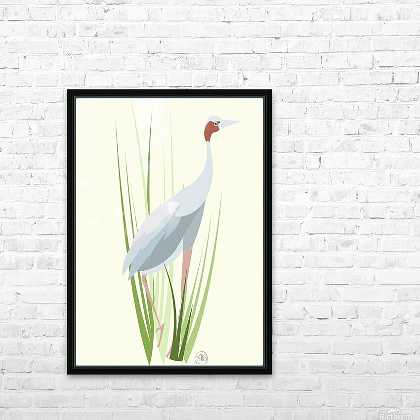 Sarus Crane HD Sublimation Metal print with Decorating Float Frame (BOX)