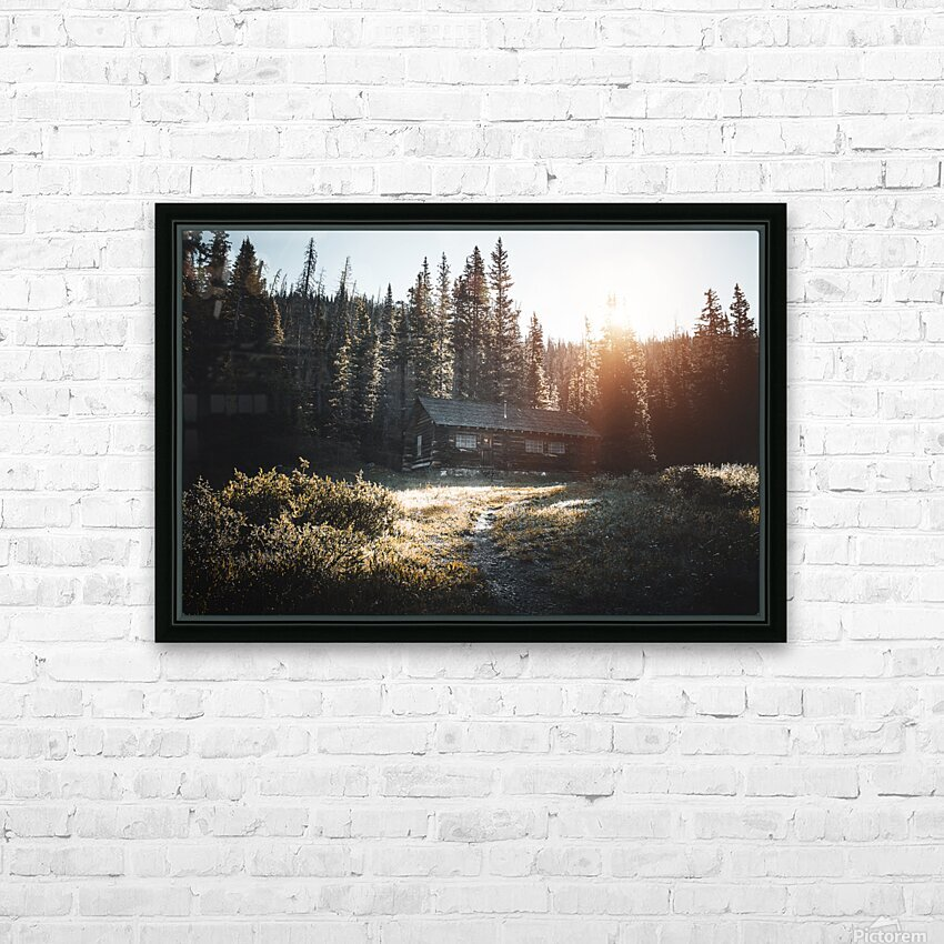 Rocky Mountain Cabin HD Sublimation Metal print with Decorating Float Frame (BOX)