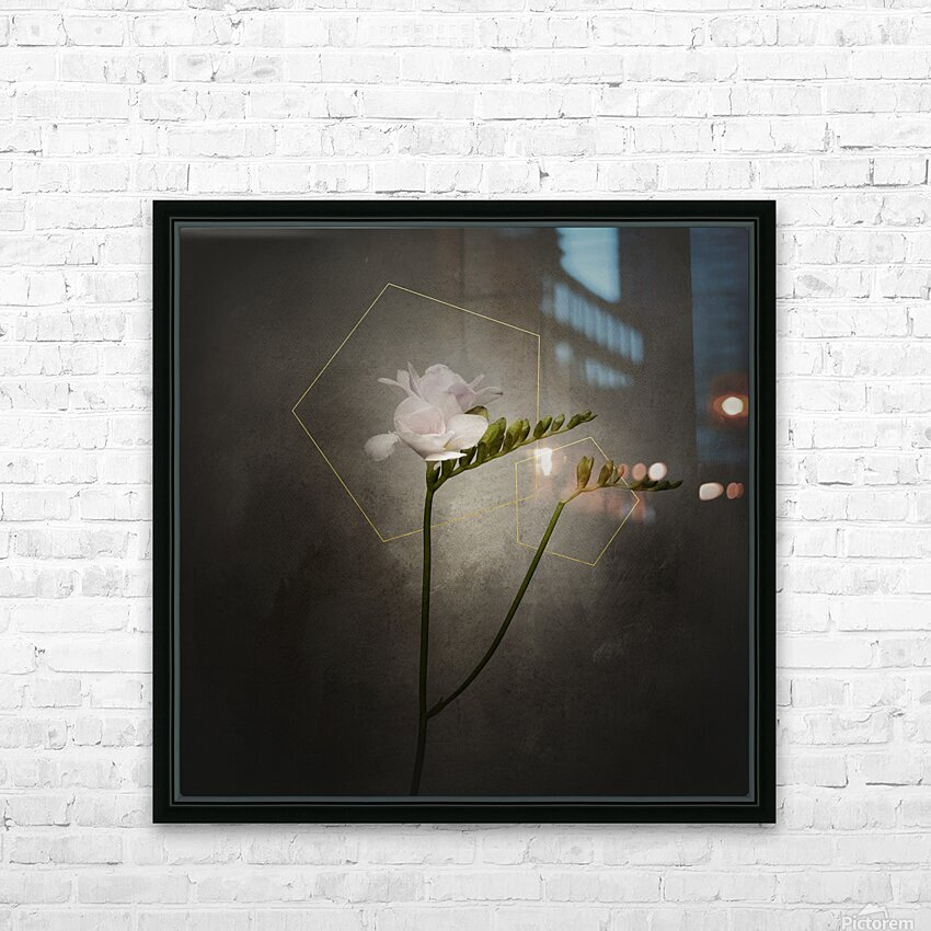Graceful flower - Freesia   vintage style gold  HD Sublimation Metal print with Decorating Float Frame (BOX)