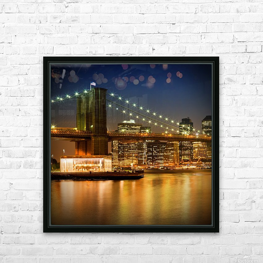 Night-Skylines NEW YORK CITY HD Sublimation Metal print with Decorating Float Frame (BOX)