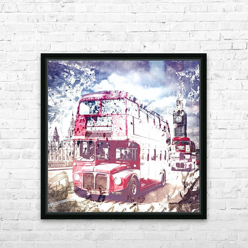 City-Art LONDON Red Buses on Westminster Bridge HD Sublimation Metal print with Decorating Float Frame (BOX)