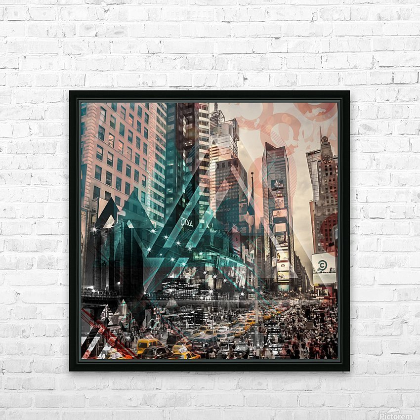 New York City Geometric Mix No. 4 HD Sublimation Metal print with Decorating Float Frame (BOX)