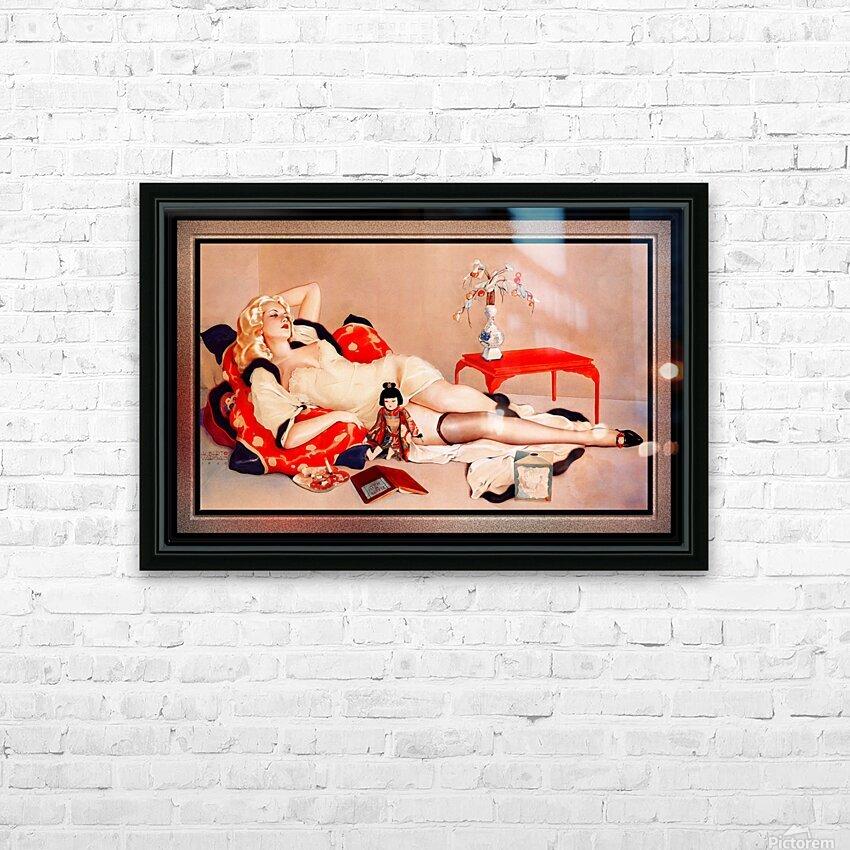 Fleurs du Mal by Alberto Vargas Vintage Pin-Up Girl Art HD Sublimation Metal print with Decorating Float Frame (BOX)