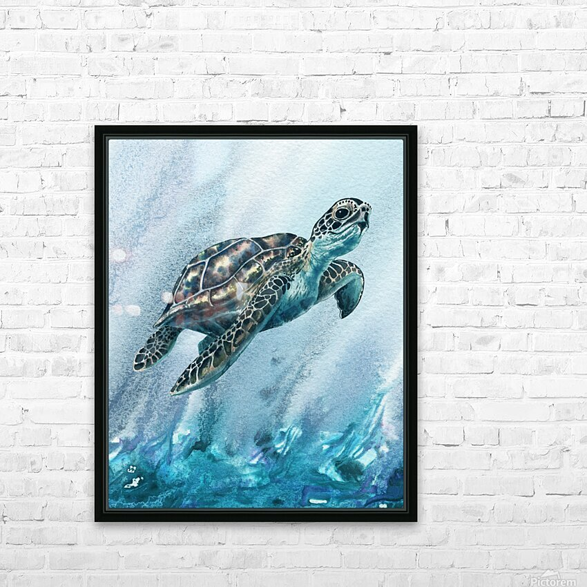 Watercolor Giant Turtle In Abstract Seaweed And Water XI HD Sublimation Metal print with Decorating Float Frame (BOX)
