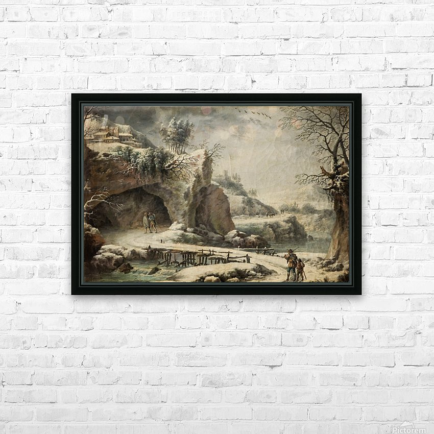 A frozen river landscape with figures HD Sublimation Metal print with Decorating Float Frame (BOX)