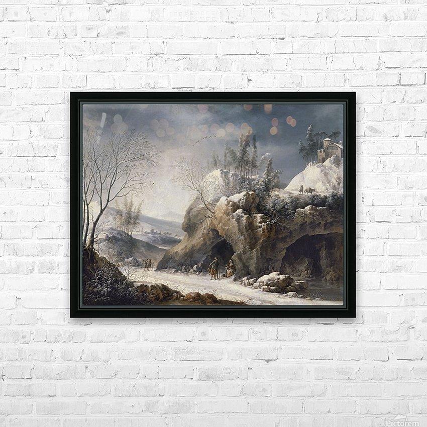 Paesaggio invernale con una famiglia di contadini HD Sublimation Metal print with Decorating Float Frame (BOX)