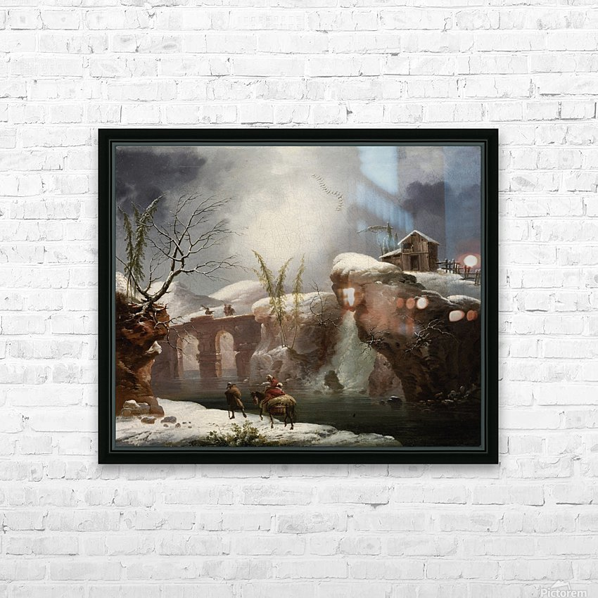 A winter landscape with travellers by a river HD Sublimation Metal print with Decorating Float Frame (BOX)