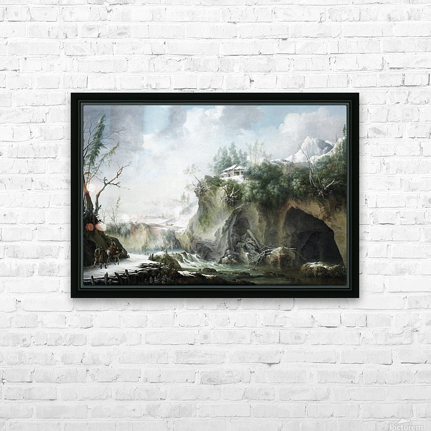 A River Landscape in Winter, With Travellers on a Snowy Path HD Sublimation Metal print with Decorating Float Frame (BOX)