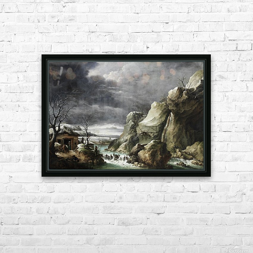 Travellers approaching a barn in a winter landscape, under a stormy sky HD Sublimation Metal print with Decorating Float Frame (BOX)
