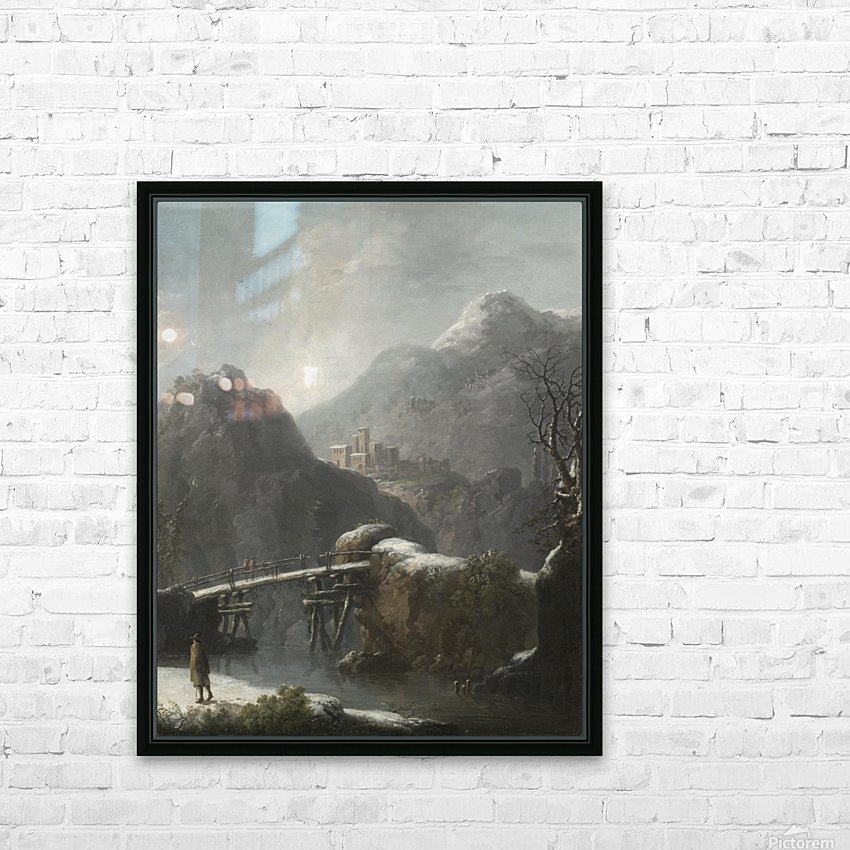 A winter landscape with travellers before a bridge, a Hilltop Town beyond HD Sublimation Metal print with Decorating Float Frame (BOX)
