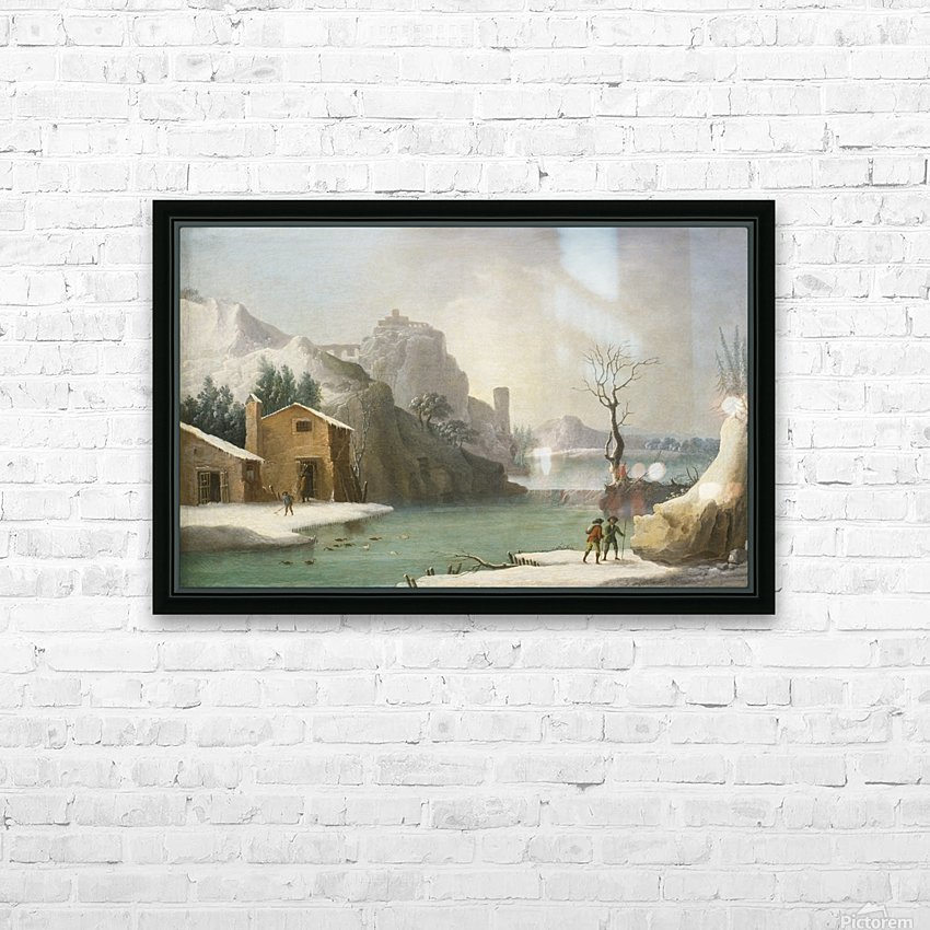 A winter landscape with travellers along a river, a Hilltop Town beyond HD Sublimation Metal print with Decorating Float Frame (BOX)