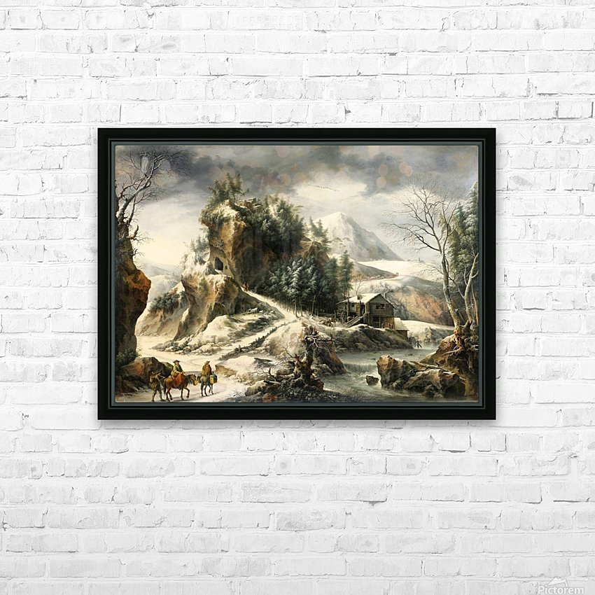 Winter landscape with a cavern and travellers HD Sublimation Metal print with Decorating Float Frame (BOX)
