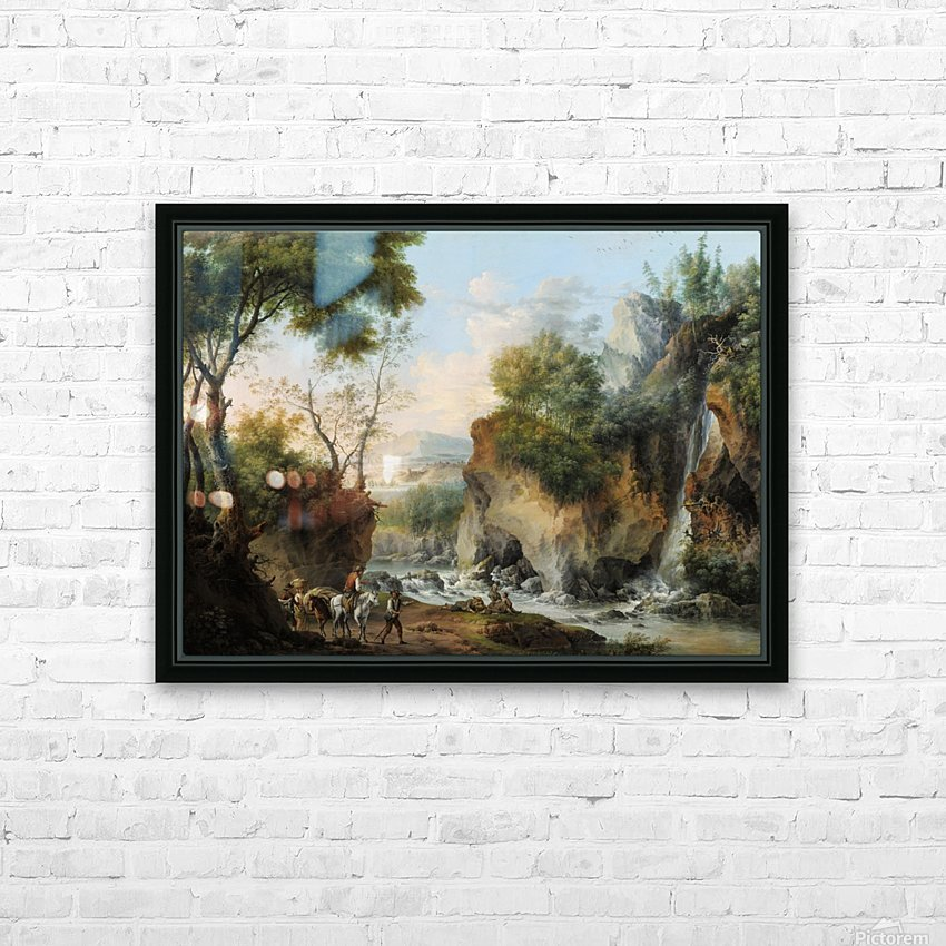 Landscape with figures along a river HD Sublimation Metal print with Decorating Float Frame (BOX)