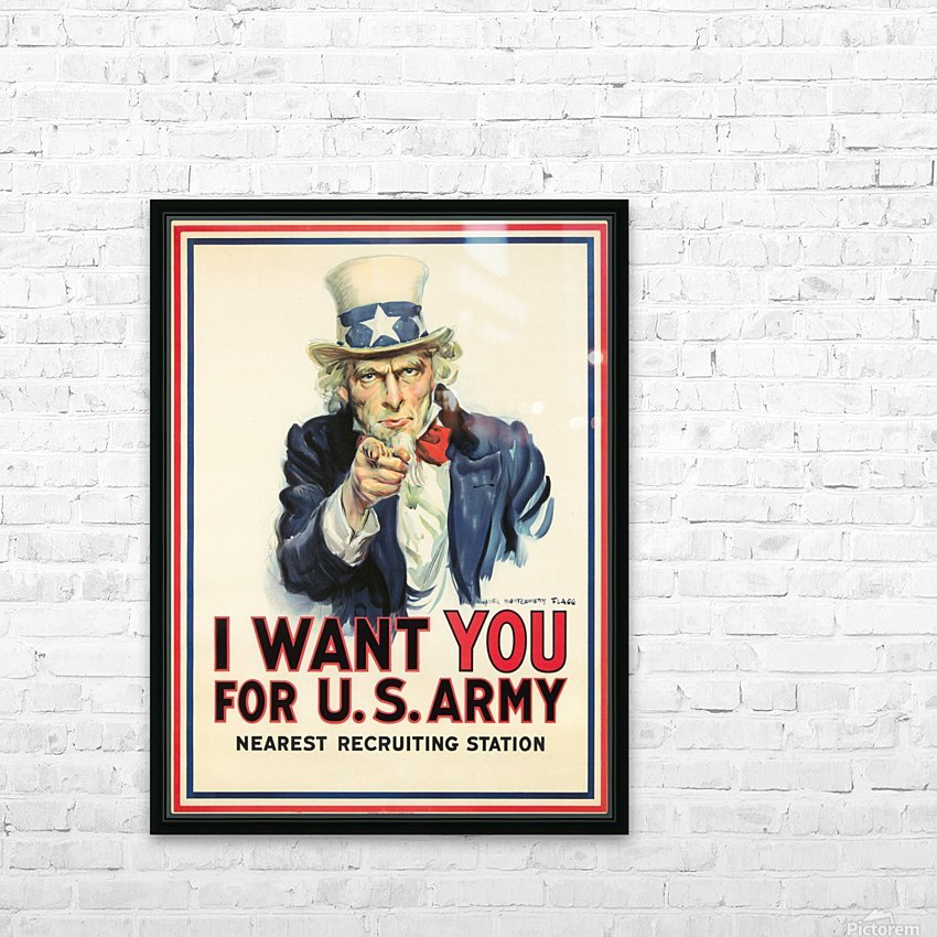 I Want You, 1917 HD Sublimation Metal print with Decorating Float Frame (BOX)