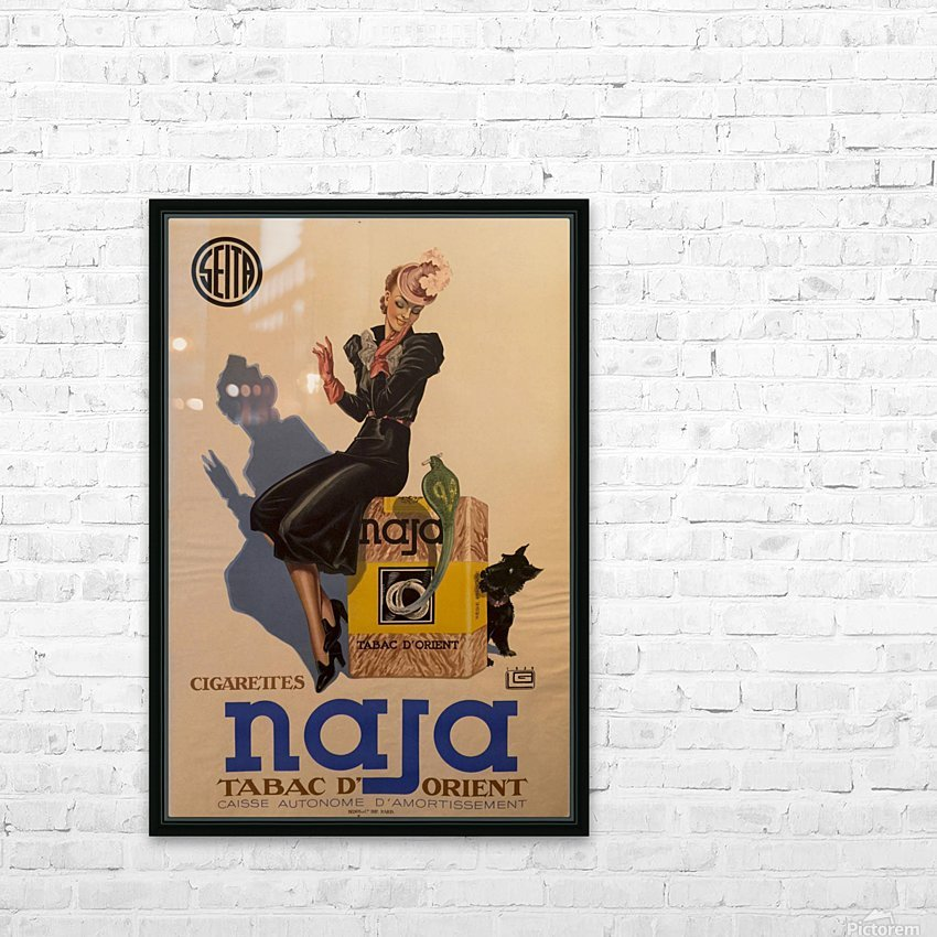 Advertisement Poster for Naja by Lelong, 1939 HD Sublimation Metal print with Decorating Float Frame (BOX)