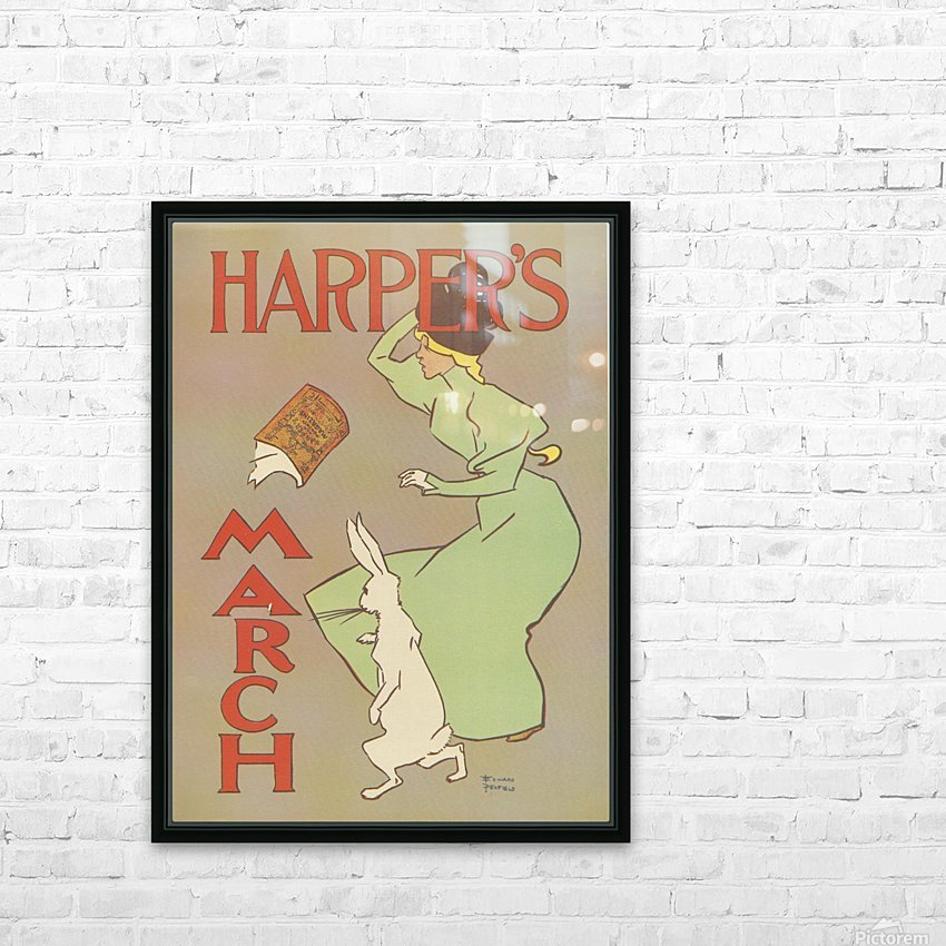 Harpers March Edward Penfield Mini Poster HD Sublimation Metal print with Decorating Float Frame (BOX)