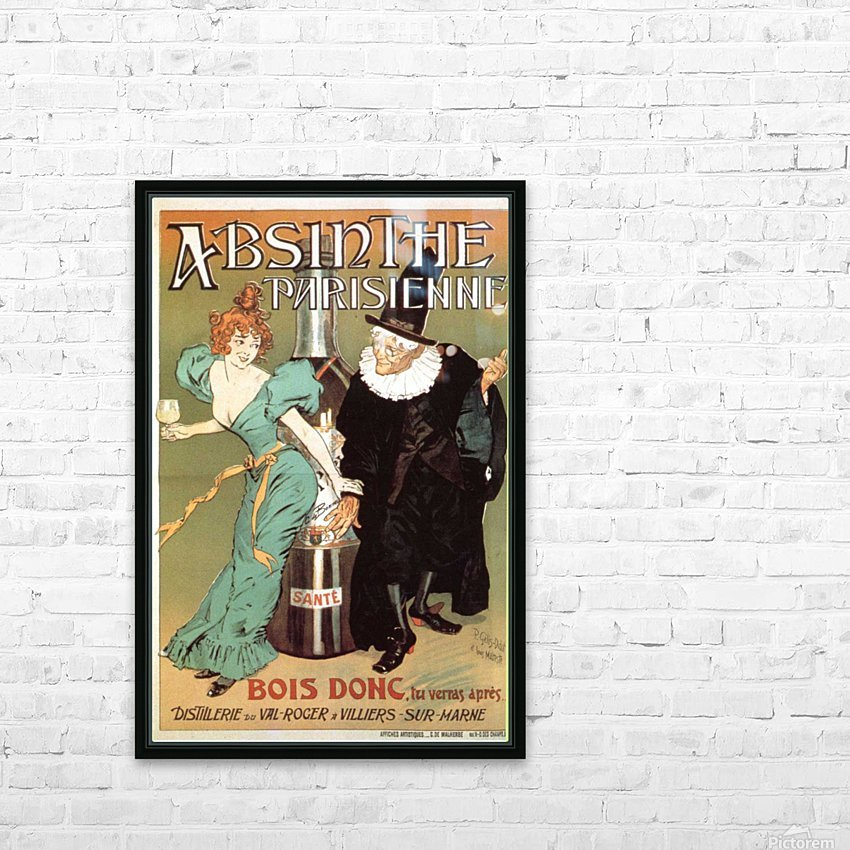 Absinthe Parisienne HD Sublimation Metal print with Decorating Float Frame (BOX)