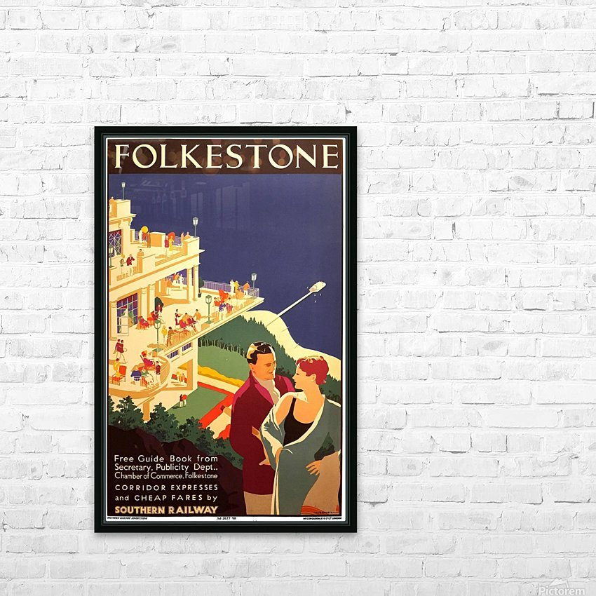 English Art Deco Period Travel Poster for Folkestone by Danvers, 1934 HD Sublimation Metal print with Decorating Float Frame (BOX)
