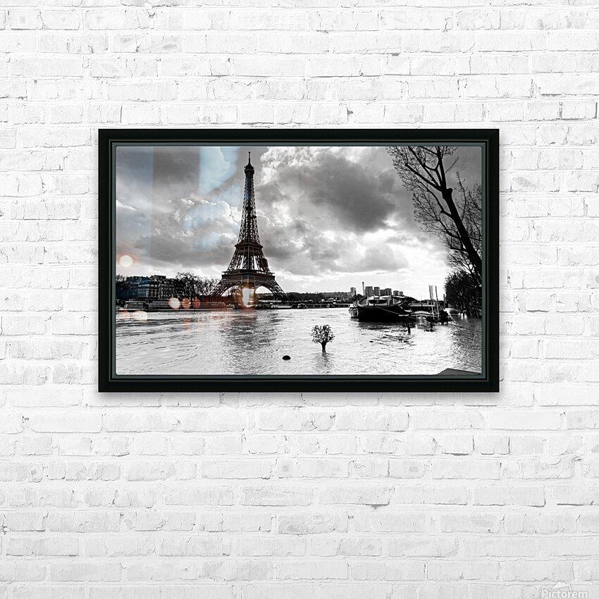 Eiffel tower flood HD sublimation métal imprimé avec décoration flotteur cadre (boîte)