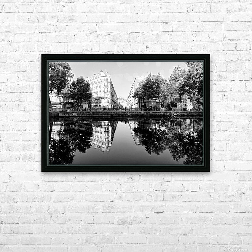 Canal Saint Martin reflection HD sublimation métal imprimé avec décoration flotteur cadre (boîte)