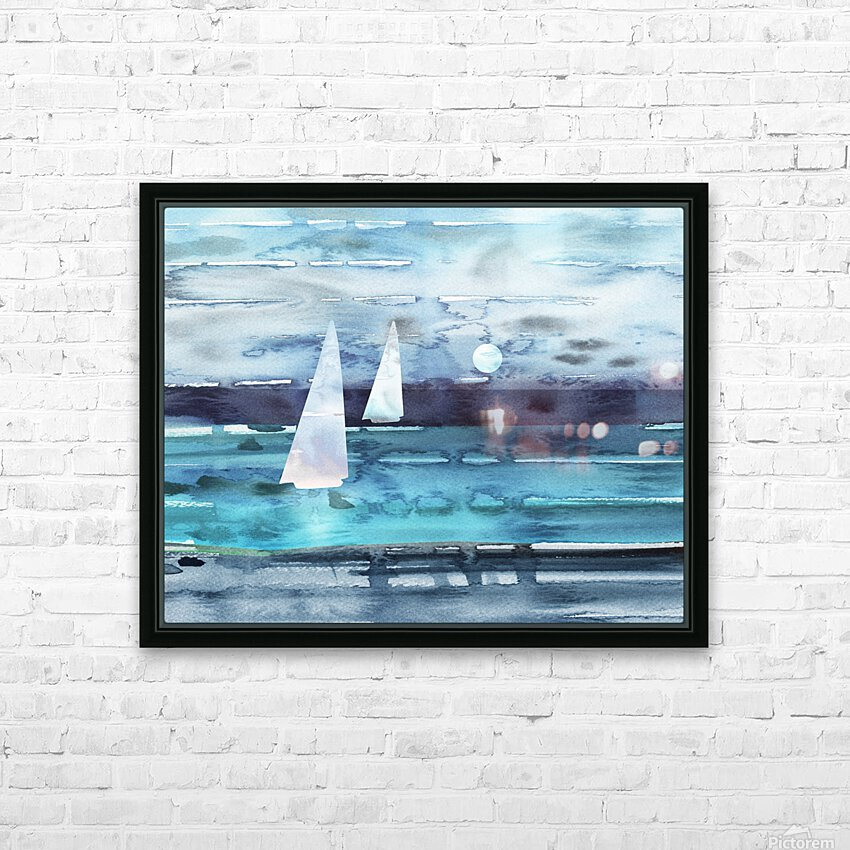 Beach House Art Sailboats At The Ocean Shore Seascape Painting XII HD Sublimation Metal print with Decorating Float Frame (BOX)