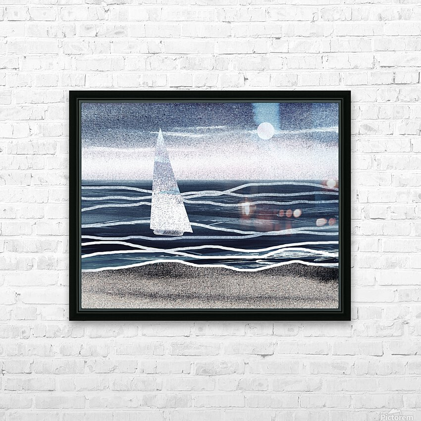 Beach House Art Sailboat At The Ocean Shore Seascape Painting XIII HD Sublimation Metal print with Decorating Float Frame (BOX)