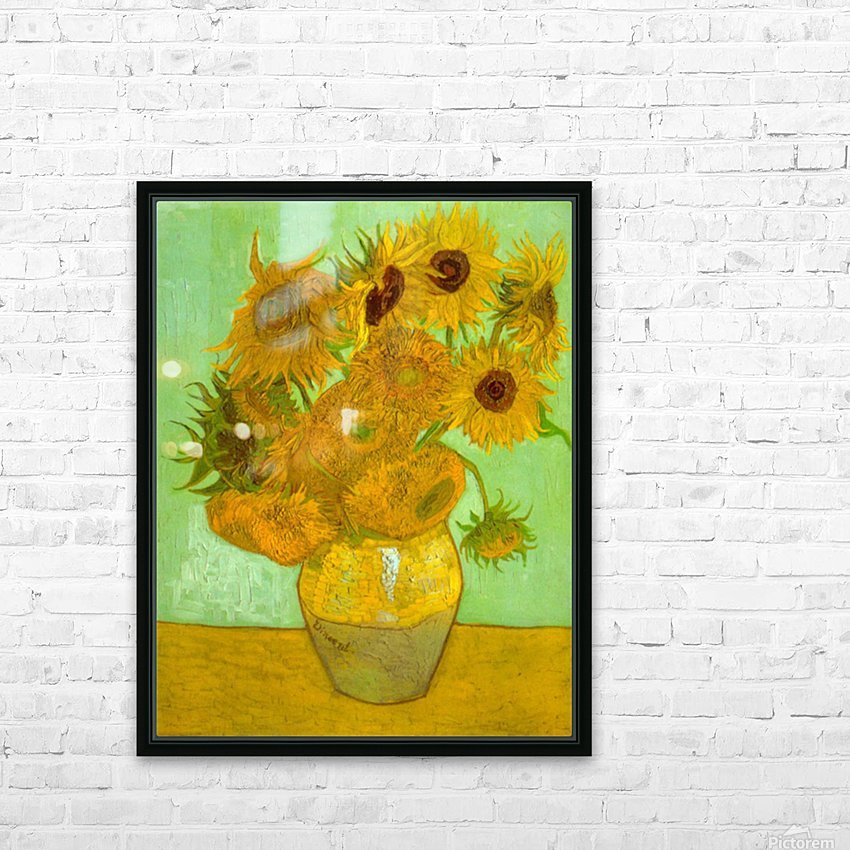 Twelve Sunflowers by Van Gogh HD Sublimation Metal print with Decorating Float Frame (BOX)