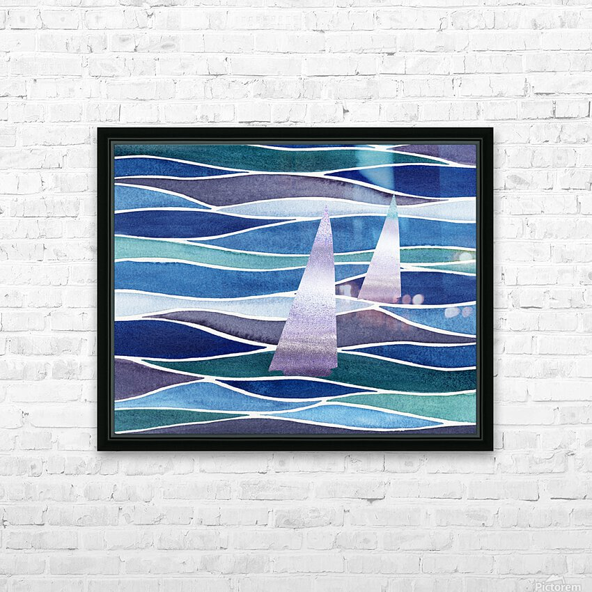 Sailboats At The Ocean Shore Seascape Painting Beach House Art Decor XIV HD Sublimation Metal print with Decorating Float Frame (BOX)
