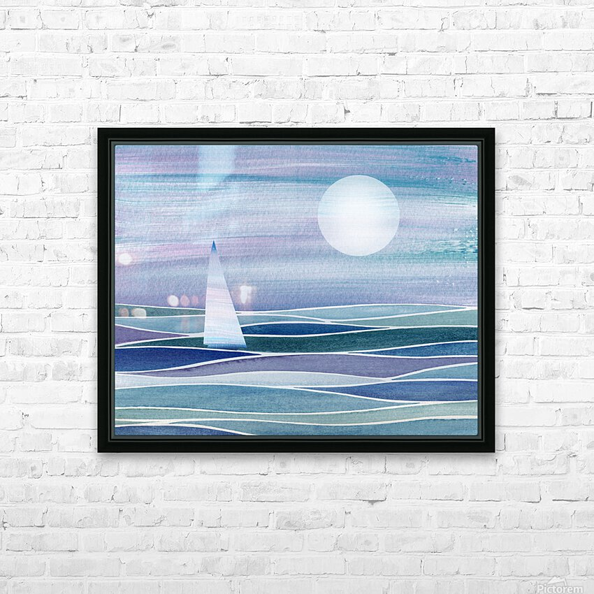 Sailboat At The Ocean Shore Seascape Painting Beach House Art Decor XV HD Sublimation Metal print with Decorating Float Frame (BOX)